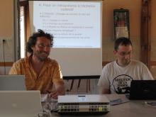 photo d'Yves Bonnardel et de Pierre Sigler pendant leur intervention