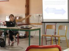 photo d'Isabelle Dudouet Bercegeay, pendant son intervention